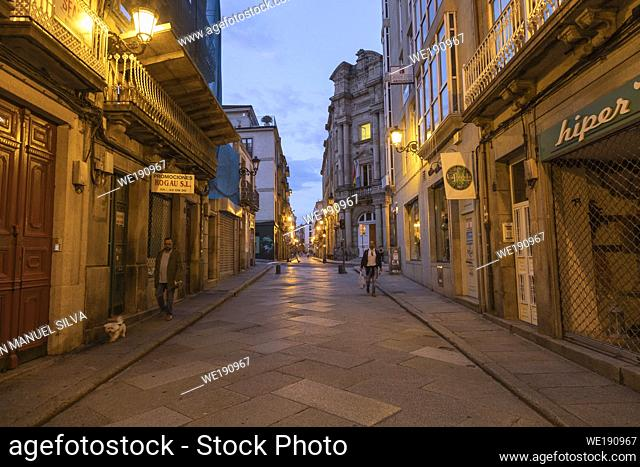 Streets of downtown Ourense at dawn, Galicia, Spain