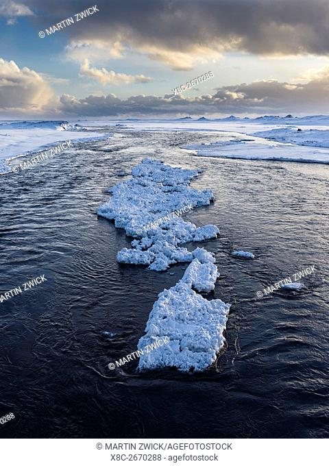 Sunrise on the outwash plain of glacier Myrdalsjokull, east of Vik y Myrdal. europe, northern europe, scandinavia, iceland, February