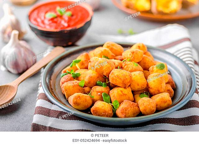 Homemade fried mini croquettes from baked potatoes, delicious and nice recipe