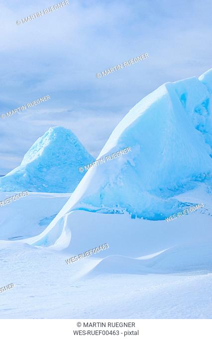 Antarctica, View of iceberg sculptures