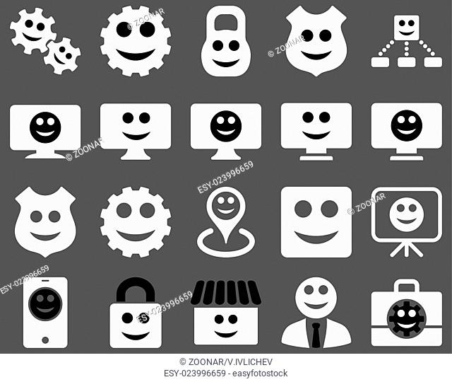 Tools, gears, smiles, dilspays icons