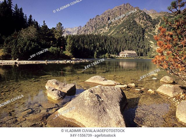 The tarn 'Popradske pleso' with the hotel on it's shore, Mengusovska dolina, High Tatras, Slovakia