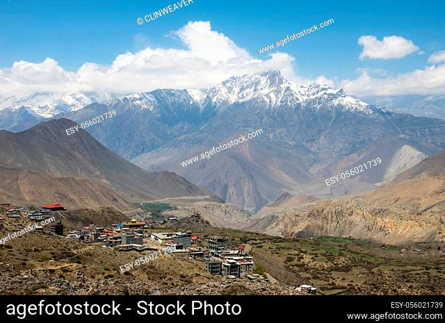 The Muktinath valley in Mustang Nepal with small towns and villages surrounded with high mountains