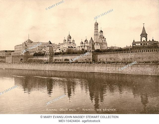 A view of the Kremlin from across the River Moskva, Moscow, Russia. The large building on the left is the Grand Kremlin Palace, formerly the Imperial Palace