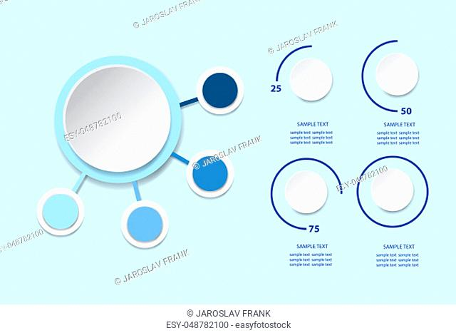 Infographic as blank circle with four blank circles around and circles showing quarter, half, three quarters, and full result of performance