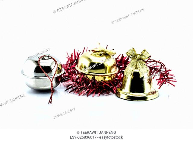 Bell and Christmas Garland isolated on white background, christmas object