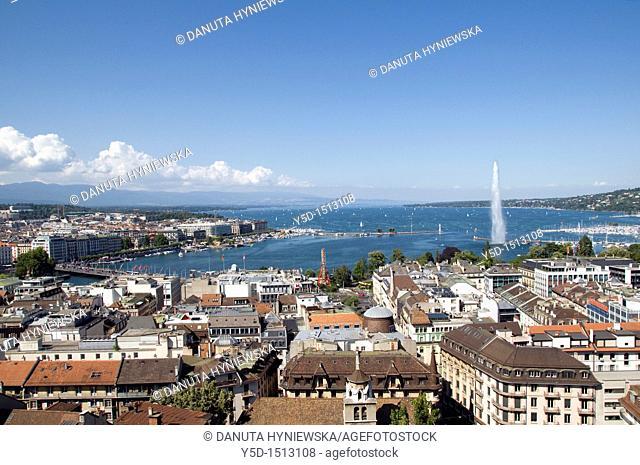 panorama of town of Geneva, Geneva Lake, Switzerland, Europe