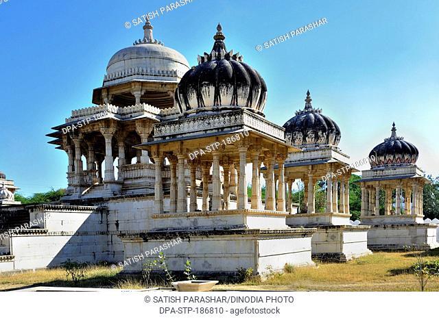 Cenotaphs chhatries royal tomb at ahar in udaipur rajasthan india Asia