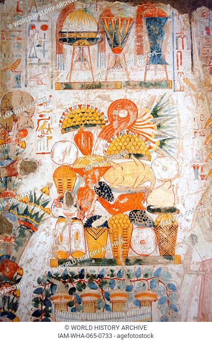 Fresco from the tomb of Nebamun, Fragment of a polychrome tomb-painting representing funerary offerings and with four vertical registers of polychrome painted...