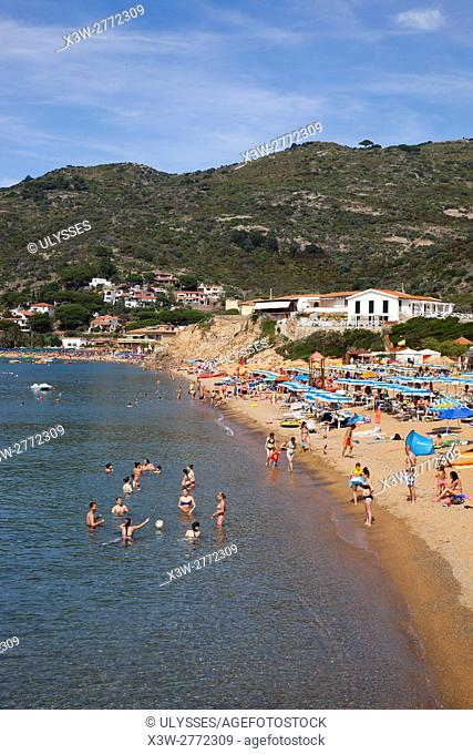 Campese village and beach, Giglio Island, Tuscan archipelago, Tuscany, Italy, Europe