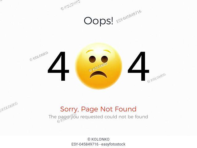 404 error page not found. Emoji sad smile. Vector illustration web design of 404 site page