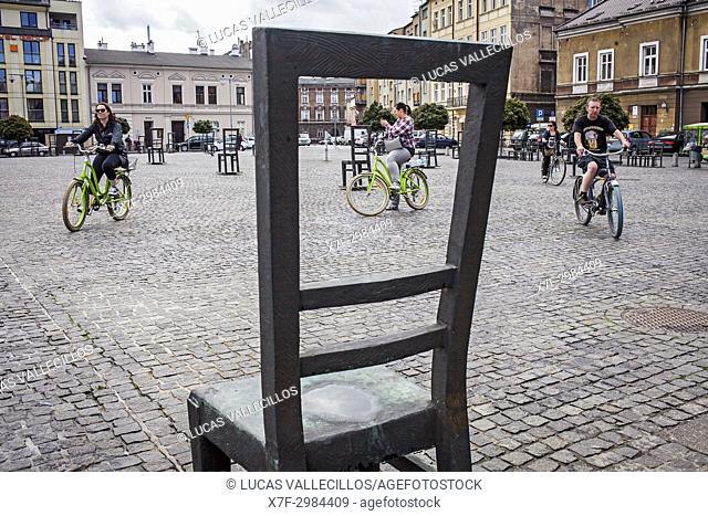 Memorial to the heroes of the Krakow ghetto, Krakow, Poland