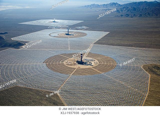 San Bernardino County, California - Brightsource Energy's Ivanpah Solar Project, a solar thermal electric generating facility in the Mojave Desert