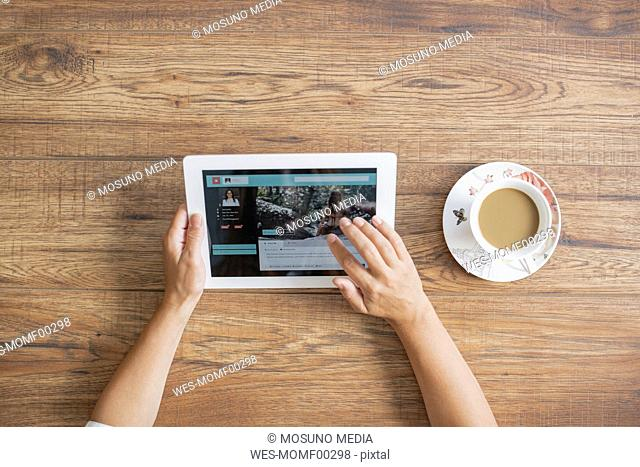Hands of woman using tablet, top view