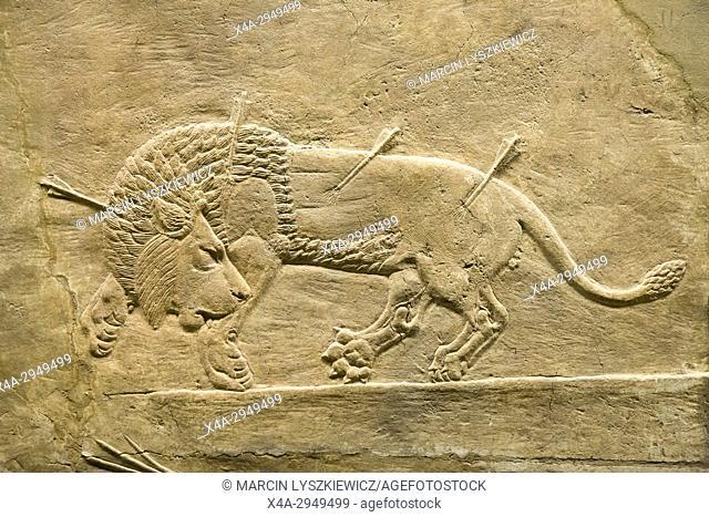 Lion Hunting, Assyrian Alabaster Bas-Relief, Circa 645-635 BCE, British Museum, London