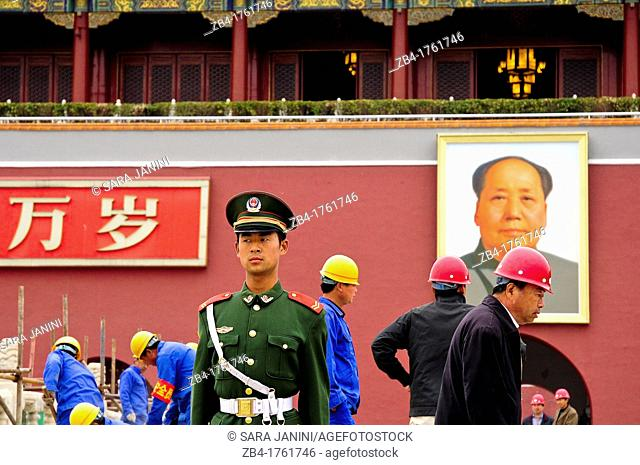 Policeman and workers outside the Forbidden City, Beijing, China, Asia