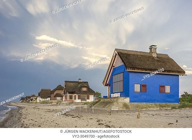 Historic buildings on the peninsula Graswarder, Heiligenhafen, Baltic Sea, Schleswig-Holstein, Germany, Europe