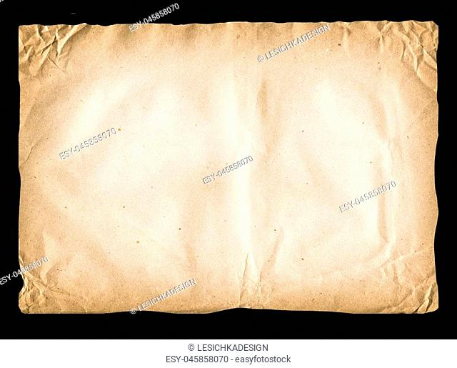 Old paper in rectangle format. Brown crumpled paper surface isolated on black