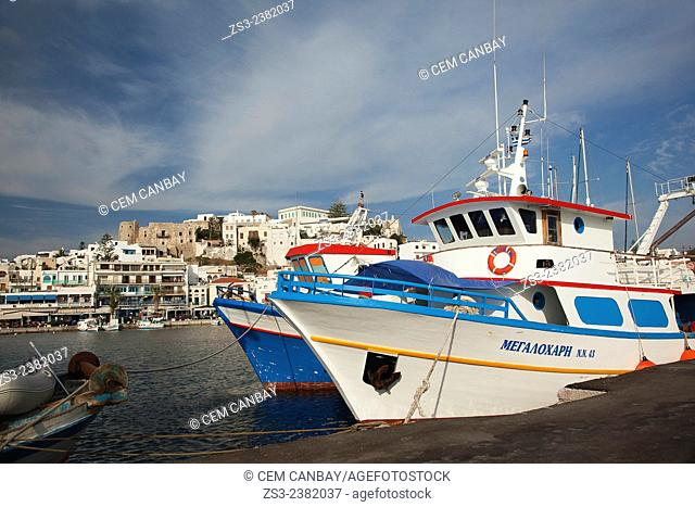 Fishing boats at the port in town center, Naxos, Cyclades Islands, Greek Islands, Greece, Europe