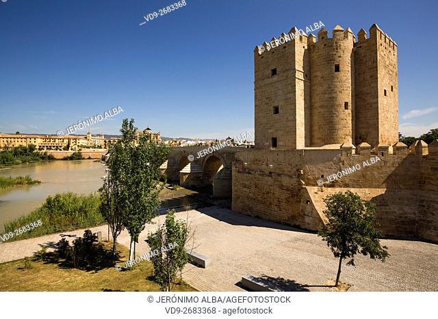 Torre de la Calahorra medieval tower on the Puente Romano over the Guadalquivir river, Cordoba City Andalusia, Spain, Europe