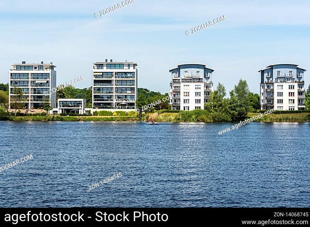 development area, Ziegelsee lake, Schwerin, Mecklenburg-Western Pomerania, Germany, Europe, Neubaugebiet, Ziegelsee, Schwerin, Mecklenburg-Vorpommern