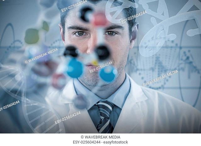Composite image of young scientist experimenting molecule structure