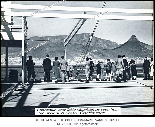The City & Table Mountain, Cape Town, Western Cape, South Africa. Showing view from a Union Castle Liner
