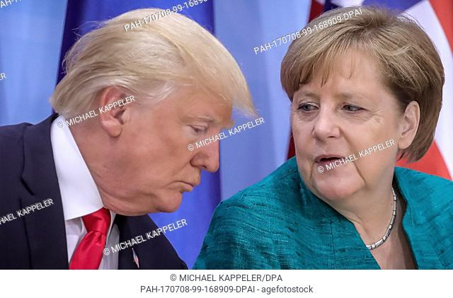 German chancellor Angela Merkel and American president Donald Trump attend the Women's Entrepreneur Finance Initiative launch event held in conjunction with the...