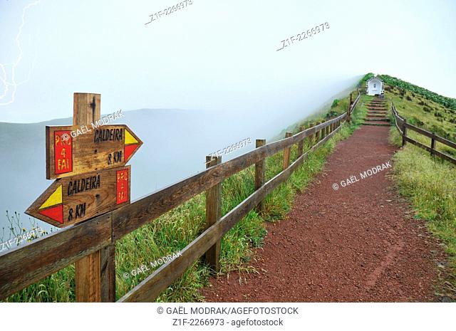 Small path bording the caldeira of Faial, Azores, Portugal