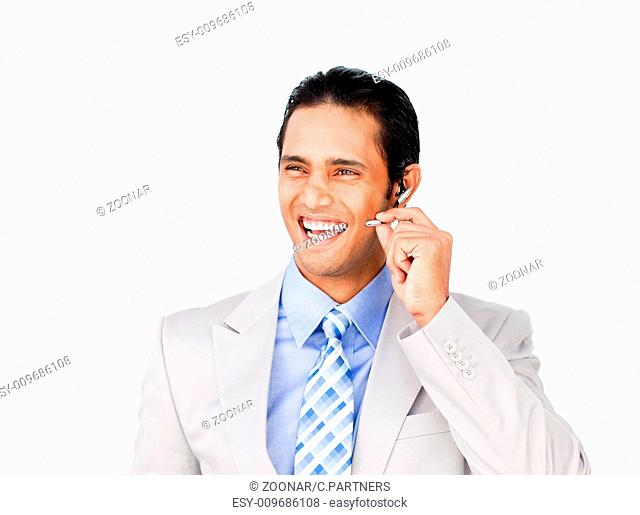 Happy businessman with headset on