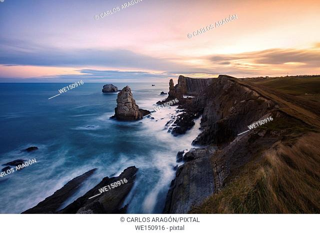 Sunrise on the coast Quebrada, Liencres, Cantabria, Spain