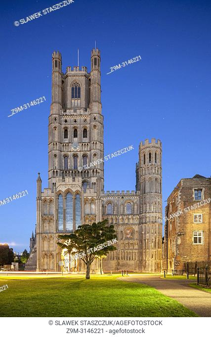 Night falls at Ely Cathedral, Cambridgeshire, England