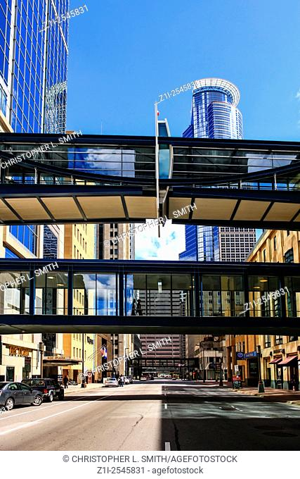 Overhead walkways in downtown Minneapolis, perfect in the winter months when temps can drop to -30f
