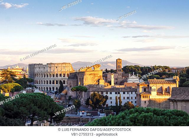 The Coliseum as seen from the Altare della Patria, Rome, Italy