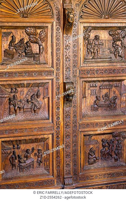 Wood carving on furniture panels