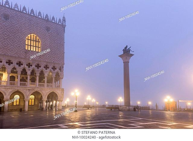 Piazzetta, National Library of St Marks and the Doge's Palace in fog, Venice, Italy