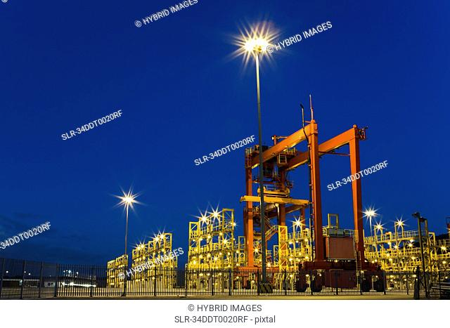Container crane machinery in shipyard
