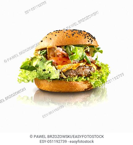 Delicious hamburger isolated white background. For fast food restaurant design or fast food menu