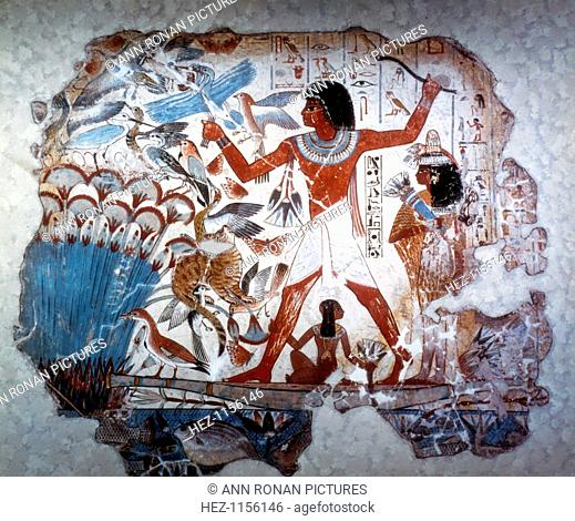 Ancient Egyptian hunting wildfowl with a throwing stick, c1350 BC. Wall painting from the tomb of Nebamum or Nebmum, 18th Dynasty