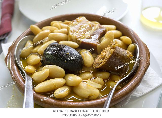 Fabada asturiana white beans with sausages Asturias Spain
