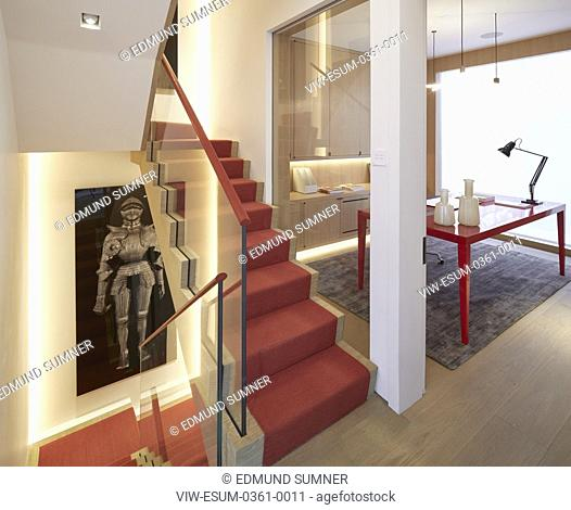 Staircase and study on 1st floor. Private residence, London, United Kingdom. Architect: PTP , 2017
