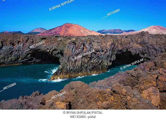 Lava cliffs Los Hervideros, Island Lanzarote, Canary Islands, Spain