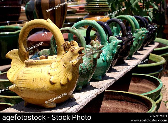 Teapots on the markert in Bagan. Myanmar