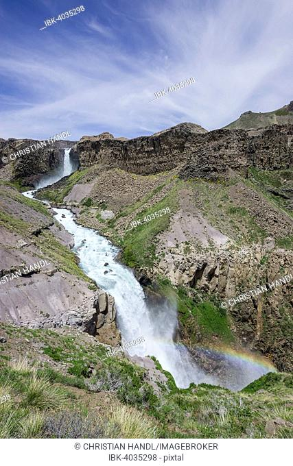 Rainbow at the waterfalls Saltos de Arco Iris, Maule Valley, San Clemente, Maule, Chile
