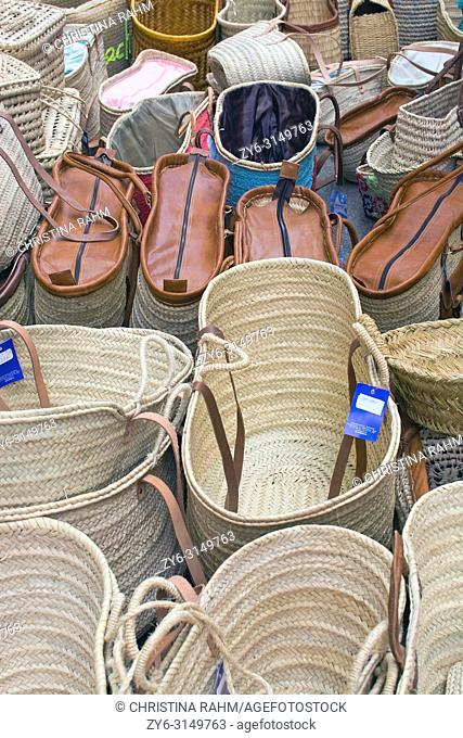 MALLORCA, SPAIN - SEPTEMBER 5, 2018: Baskets on display in the Sineu market on a sunny day on September 5, 2018 in Mallorca, Spain