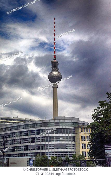 View of the Berliner Fernsehturm tower in Berlin, Germany