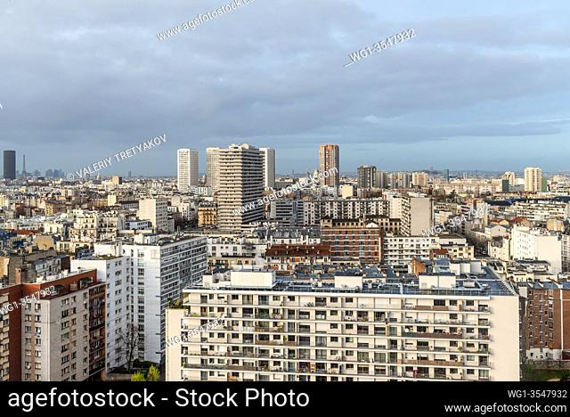 Paris, France - December 22, 2018: Paris cityscape taken from Apparteo Palatino Hotel in Paris, France. Residential buildings in the foreground