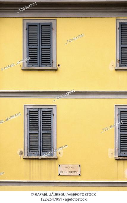 Pavia (Italy). Windows in the place del Carmine city of Pavia