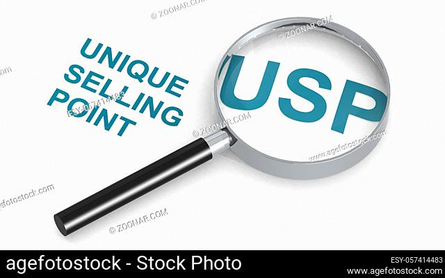 USP, Unique Selling Point, word under magnifying glass, 3d rendering