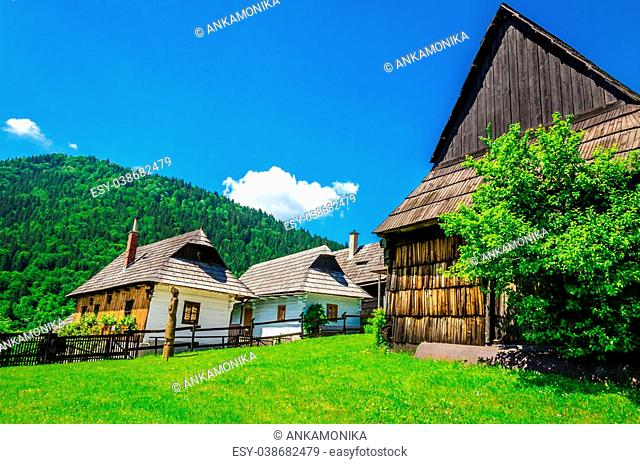 Wooden huts in beautiful Vlkolinec traditional village in Slovakia, Eastern Europe